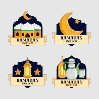 Coleção de emblemas do ramadã desenhada à mão
