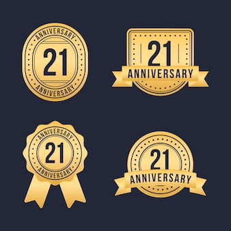 Coleção de emblemas dourados de 21 anos de design plano