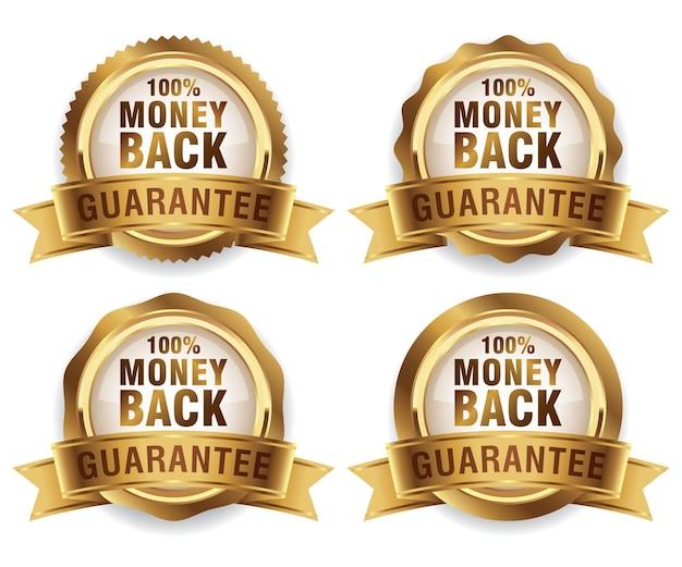 Coleção de emblemas dourados de luxo com garantia de devolução do dinheiro