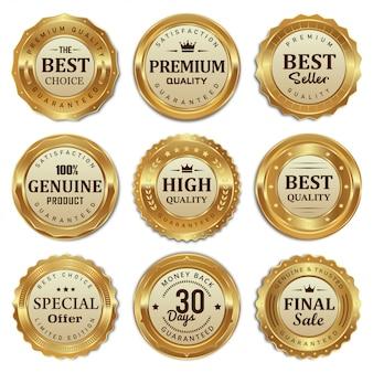 Coleção de emblemas dourados e produtos de qualidade de rótulos