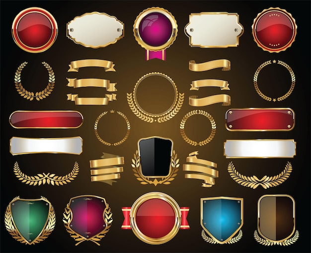 Coleção de emblemas dourados, rótulos, louros, escudo e placas de metal