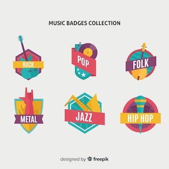 Coleção de emblemas e adesivos de estilo de música em design plano