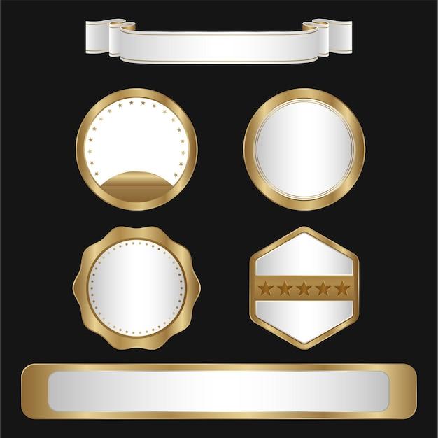 Coleção de emblemas e etiquetas com design de ouro e prata de luxo