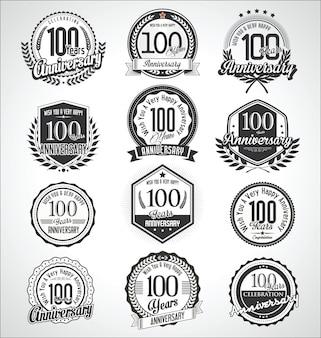Coleção de emblemas e etiquetas de aniversário vintage retrô