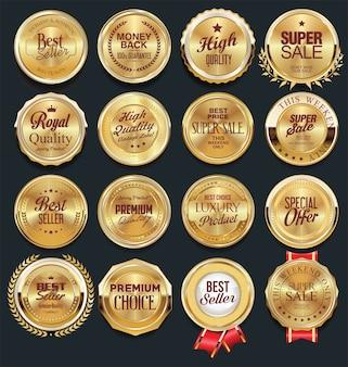 Coleção de emblemas e etiquetas de elementos de design dourado de luxo