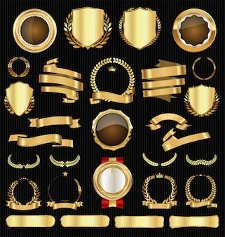 Coleção de emblemas e etiquetas de venda retrô dourada