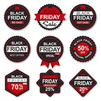 Coleção de emblemas e etiquetas de venda sexta-feira negra