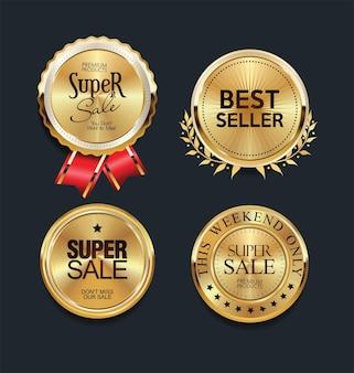 Coleção de emblemas e etiquetas dourados de luxo