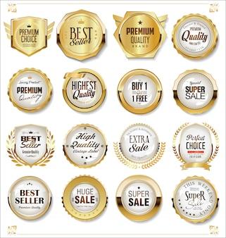 Coleção de emblemas e etiquetas retrô super venda dourada