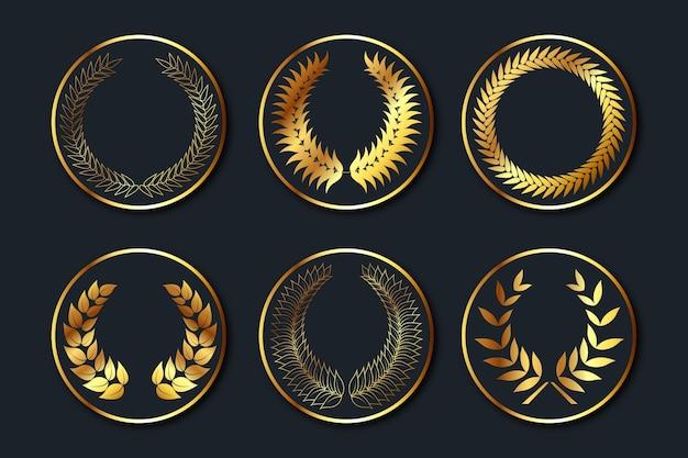 Coleção de emblemas gradientes dourados