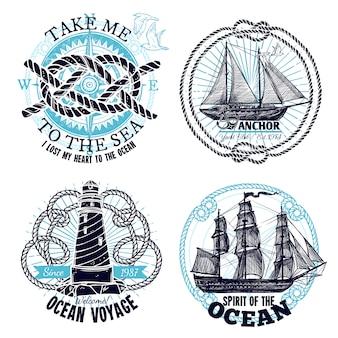 Coleção de emblemas marinhos