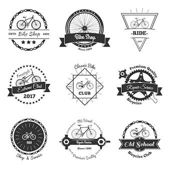 Coleção de emblemas monocromáticos de bicicleta