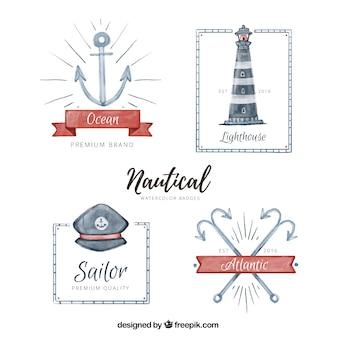 Coleção de emblemas náuticas no estilo da aguarela