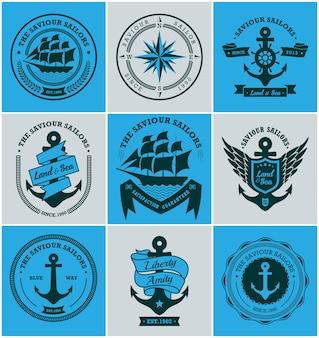 Coleção de emblemas náuticos vintage e rótulos