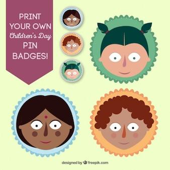 Coleção de emblemas pin dia das crianças