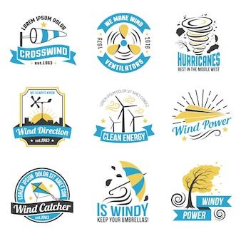 Coleção de emblemas plana de energia de energia eólica