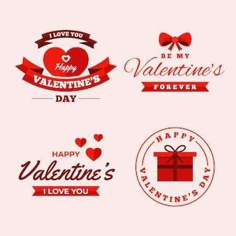 Coleção de emblemas planos do dia dos namorados