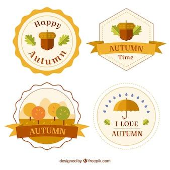 Coleção de emblemas planos para outono