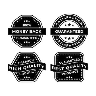 Coleção de emblemas pretos com satisfação garantida