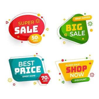 Coleção de emblemas promocionais de vendas