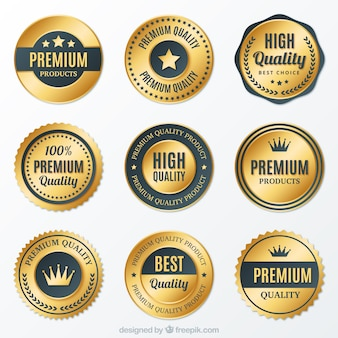 Coleção de emblemas redondos dourados premium