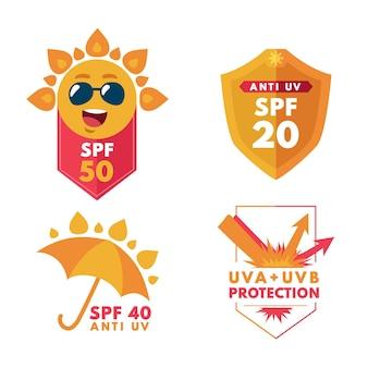 Coleção de emblemas ultravioleta de design plano