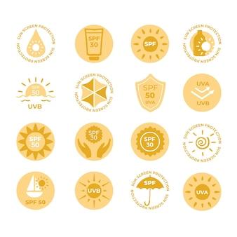 Coleção de emblemas ultravioleta plana