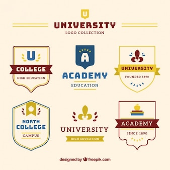 Coleção de emblemas universidade em estilo elegante