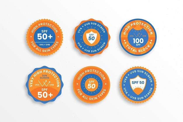 Coleção de emblemas uv de design plano