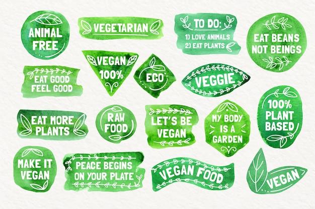 Coleção de emblemas vegetarianos em aquarela