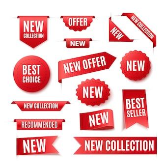 Coleção de emblemas vermelhos promo ou etiquetas isoladas no fundo branco. conjunto de bandeiras de fita de vetor