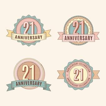 Coleção de emblemas vintage de 21 anos