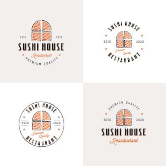 Coleção de emblemas vintage de restaurante de sushi desenhado à mão