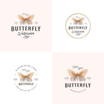 Coleção de emblemas vintage em aquarela e borboletas