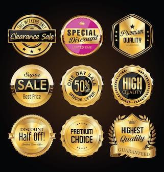 Coleção de emblemas vintage premium