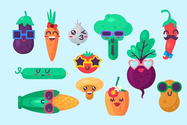 Coleção de emoções emoji de alimentos orgânicos definir vetor. pimenta e pimenta, pepino e cogumelo, milho e tomate, alho e batata, cenoura e nabo. ilustração plana de emoticon fofo em quadrinhos
