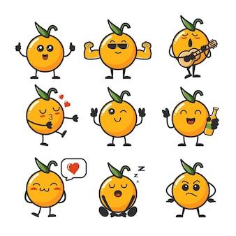 Coleção de emojis de laranjas kawaii felizes