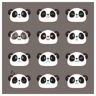Coleção de emojis de rosto bonito panda, emoticons