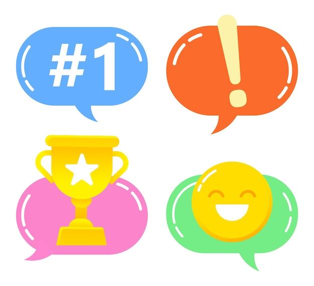 Coleção de emojis e emoticons usados em conversas de adolescentes.