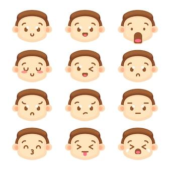 Coleção de emoticon de personagem de menino bonito