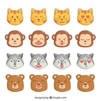 Coleção de emoticons animais expressivos