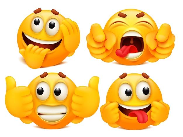 Coleção de emoticons. conjunto de quatro personagens de desenhos animados emoji em várias emoções.