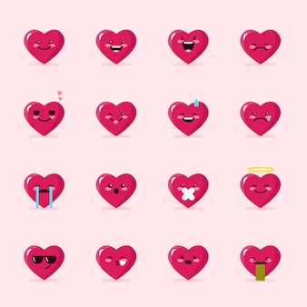 Coleção de emoticons de coração