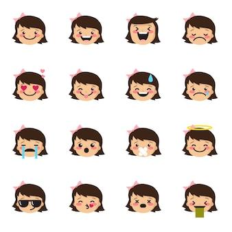 Coleção de emoticons de menina