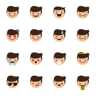 Coleção de emoticons de menino