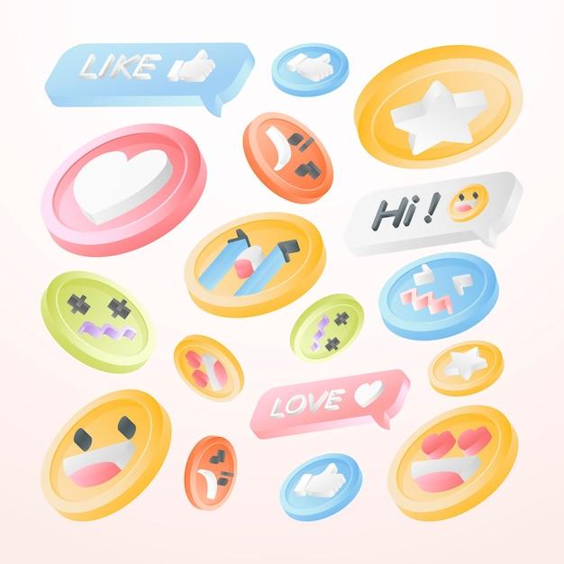 Coleção de emoticons de mídia social