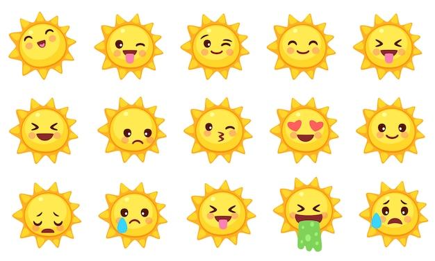 Coleção de emoticons de sol fofos