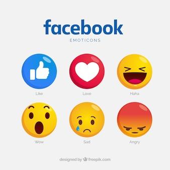 Coleção de emoticons do facebook com rostos diferentes