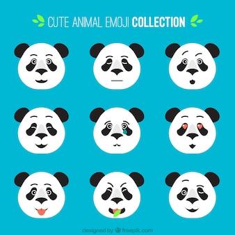 Coleção de emoticons panda achatado com diferentes expressões faciais