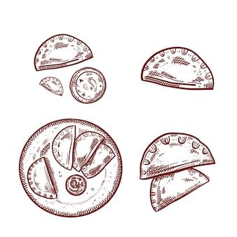 Coleção de empanada de contorno em fundo branco